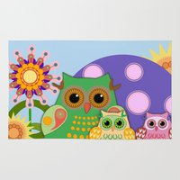 bebop Area & Throw Rugs featuring Owls, Flowers Fantasy design by thea walstra