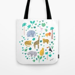 Jungle Animals Illustration Tote Bag