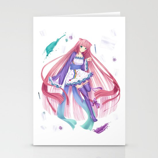 Colorful anime girl  Stationery Cards