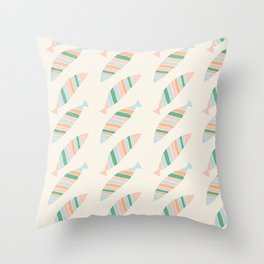 Sea Breeze Colorful Striped Fish Pattern Throw Pillow
