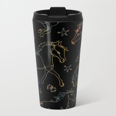 Galloping Horses, Rainbow Gradient on Black Metal Travel Mug