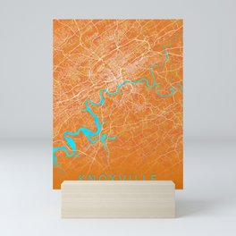 Knoxville, TN, USA, Gold, Blue, City, Map Mini Art Print