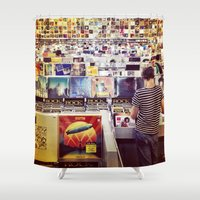 record Shower Curtains featuring Record Store by Emily Werboff