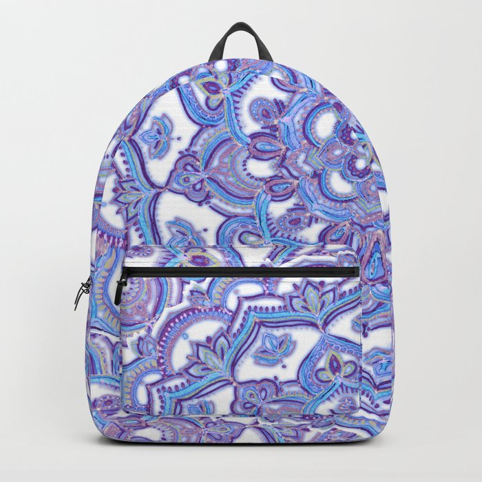 Lilac Spring Mandala - floral doodle pattern in purple & white Backpack