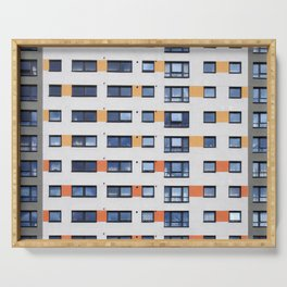 modern life - orange and grey apartments Serving Tray