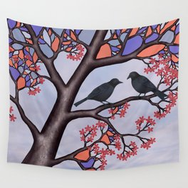 spring crows in the stained glass tree Wall Tapestry