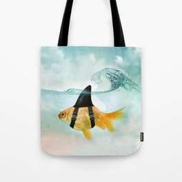 Goldfish with a Shark Fin, wave Tote Bag