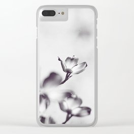 Black and White Floral Dogwood Photography, Grey Spring Flower Tree Branches, Gray Neutral Nature Clear iPhone Case