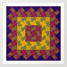 Dot Swatch Equivocated on Purple Art Print