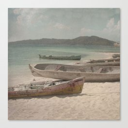 Vintage Beached Canoes  Canvas Print