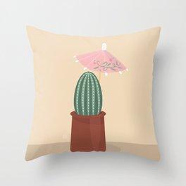 Cactus with parasol Throw Pillow