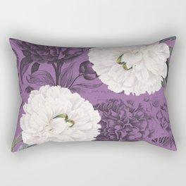 White Peony Purple Collage Rectangular Pillow