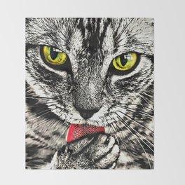 Grooming Tabby Cat Throw Blanket