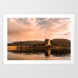 Elian Donan Castle in Scotland during Sunset – Landscape Photography Art Print