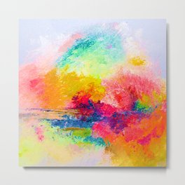 Colorful Bright Abstracted Landscape Painting. Version 2 - Bright Neon Metal Print