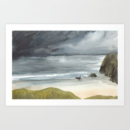 Black Dog on a Stormy Beach Art Print