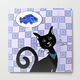 Cat thinking of Fish Metal Print
