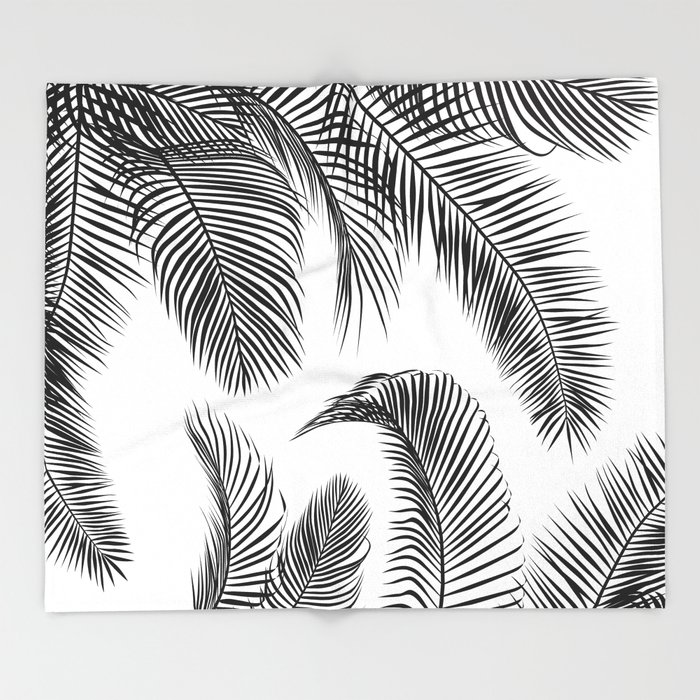 black palm tree leaves pattern throw blanket by martaolgaklara