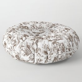 Alice in Wonderland | Toile de Jouy | Brown and White Floor Pillow