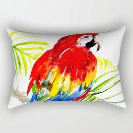 Scarlet Macaw, tropical bird, jungle Rectangular Pillow