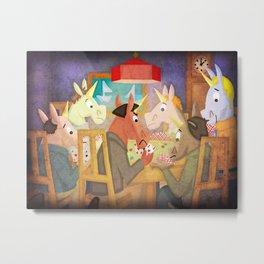 Poker Unicorn V02 Metal Print