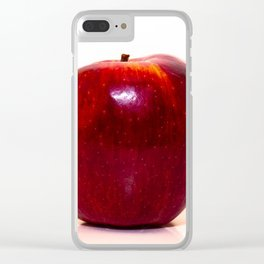 Red apple on white background Clear iPhone Case