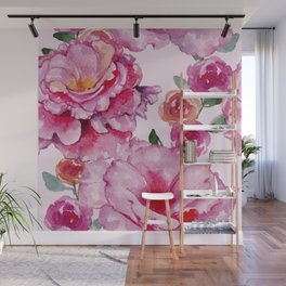 Pink on Pink Spring Roses Wall Mural
