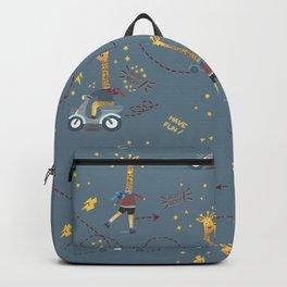 cool giraffe blue background Backpack