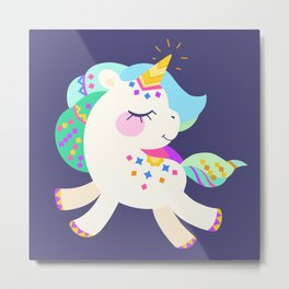 Cute unicorn with colorful mane and tail Metal Print