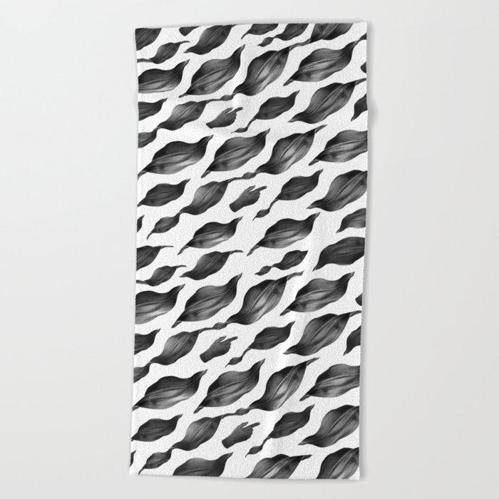 black leaves Beach Towel