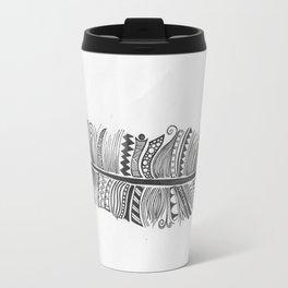 Black and White Feather Zen Travel Mug