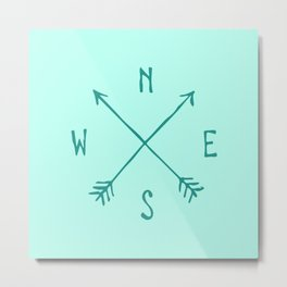 Find My Way \\ Teal Compass Art Metal Print