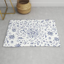Modern hand drawn doodles esoteric stars flowers blue watercolor Rug