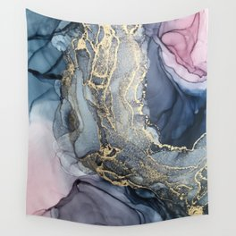 Blush, Payne's Gray and Gold Metallic Abstract Wall Tapestry