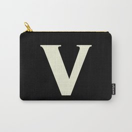 v (BEIGE & BLACK LETTERS) Carry-All Pouch