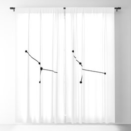 Cancer Star Sign Black & White Blackout Curtain