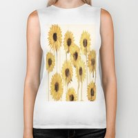 sunflowers Biker Tanks featuring Sunflowers by mama wolf spider