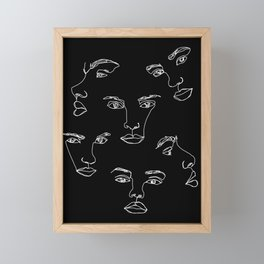 Faces one line illustration - Cyra Framed Mini Art Print