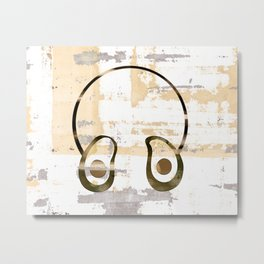 Avocado Headphones Metal Print