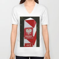 poland V-neck T-shirts featuring Frontier between Poland and Germany by Premium