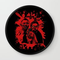 shaun of the dead Wall Clocks featuring Shaun of the dead blood splatt  by Buby87