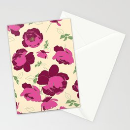 English Roses in Pink and Cream Stationery Cards