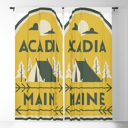Acadia National Park Maine Camping Tent Vintage Travel Blackout Curtain