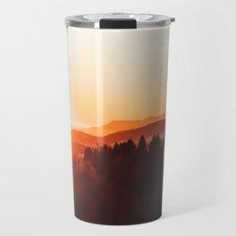 Red Orange Sunrise Parallax Mountains Pine tree Silhouette Minimalist Photo Travel Mug