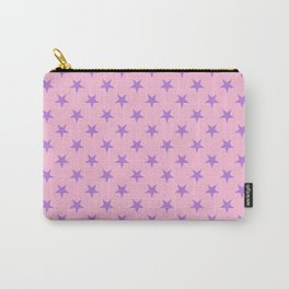Lavender Violet on Cotton Candy Pink Stars Carry-All Pouch