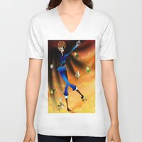 hetalia V-neck T-shirts featuring Where The Crazy Is by InsianCat