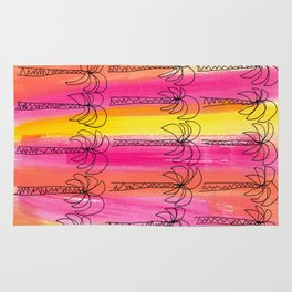 Live For the Moment (palm trees pattern summer beach tropical nature pink orange yellow stripes) Rug