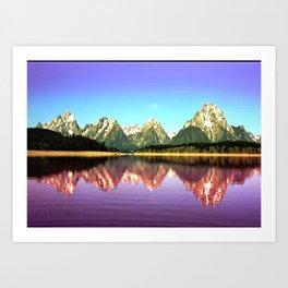 Grand Tetons 🌄 Purple Reflection Art Print