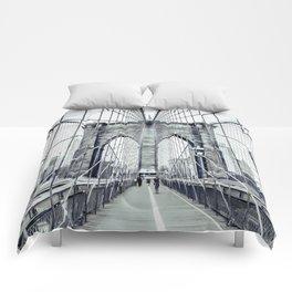 The Brooklyn Bridge in Black and White Comforters