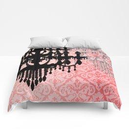 Glamorous Chandelier & Silhouette Damask Backdrop Comforters